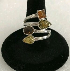 Estate Genuine Baltic Amber Gemstone Ring .925